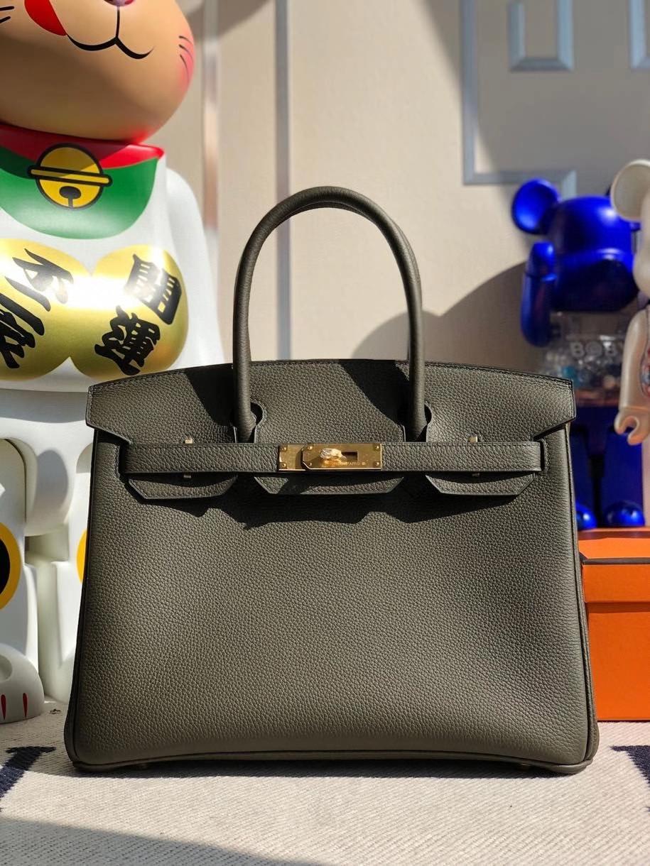 Hermès(爱马仕)Birkin 30cm 原厂小牛皮 togo 6H 橄榄绿 金扣 顶级手缝