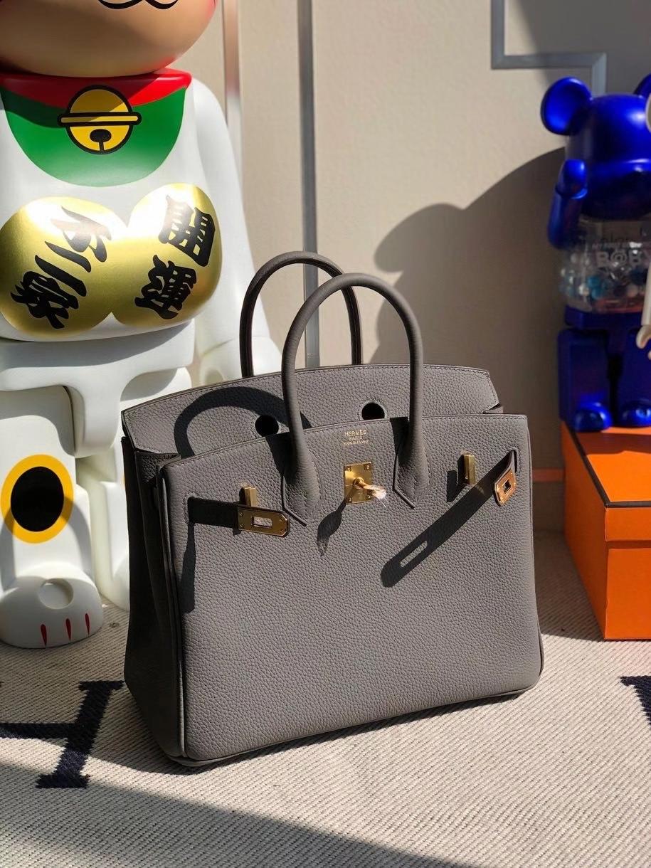 Hermès(爱马仕)Birkin 25cm 原厂小牛皮 togo 8F 锡器灰 Etain 金扣 顶级手缝