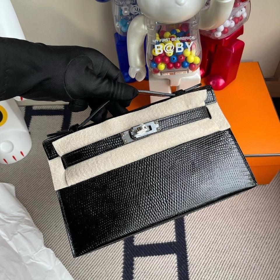 Hermès(爱马仕)Mini kelly pochette 22cm Lizard 进口亮面蜥蜴 ck89 黑色 Noir 银扣 晚宴包