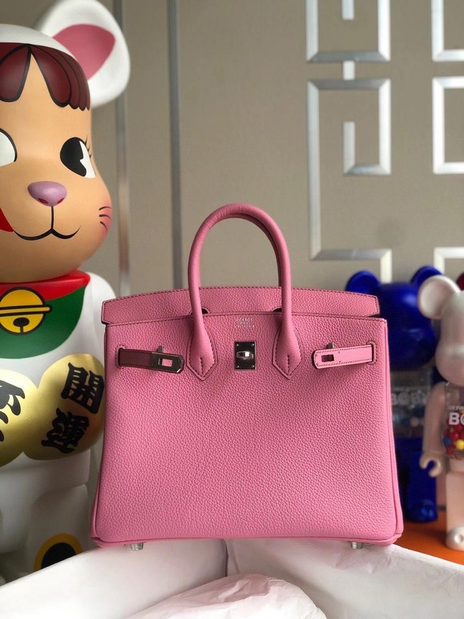 Hermès(爱马仕)Birkin 25cm 原厂小牛皮  5p 樱花粉 银扣 顶级手缝 现货