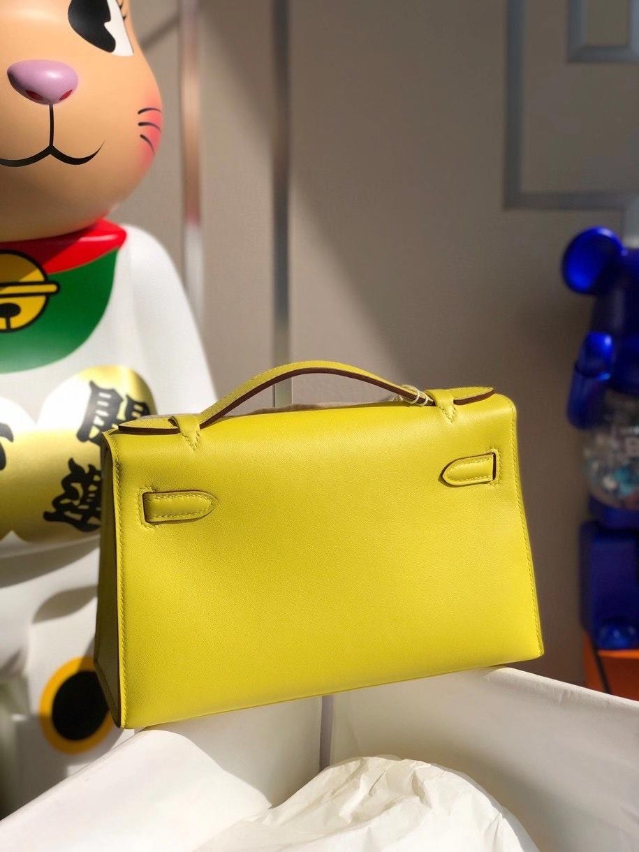 Hermès(爱马仕)Mini kelly swift 9R柠檬黄 金扣 顶级手缝 手拿包 晚宴包