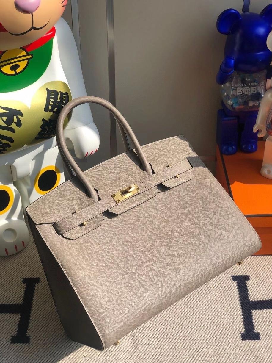 Hermès(爱马仕)Birkin 30cm Epsom 原厂掌纹皮 外缝 M8 沥青灰 Gris ashpite 金扣 顶级手缝 定制