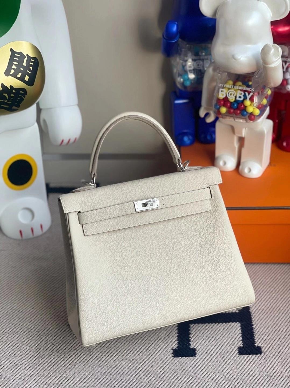 Hermès(爱马仕)Kelly  25cm Togo Ck10奶昔白内拼3Q新粉色 顶级工艺 全手工缝制 银扣
