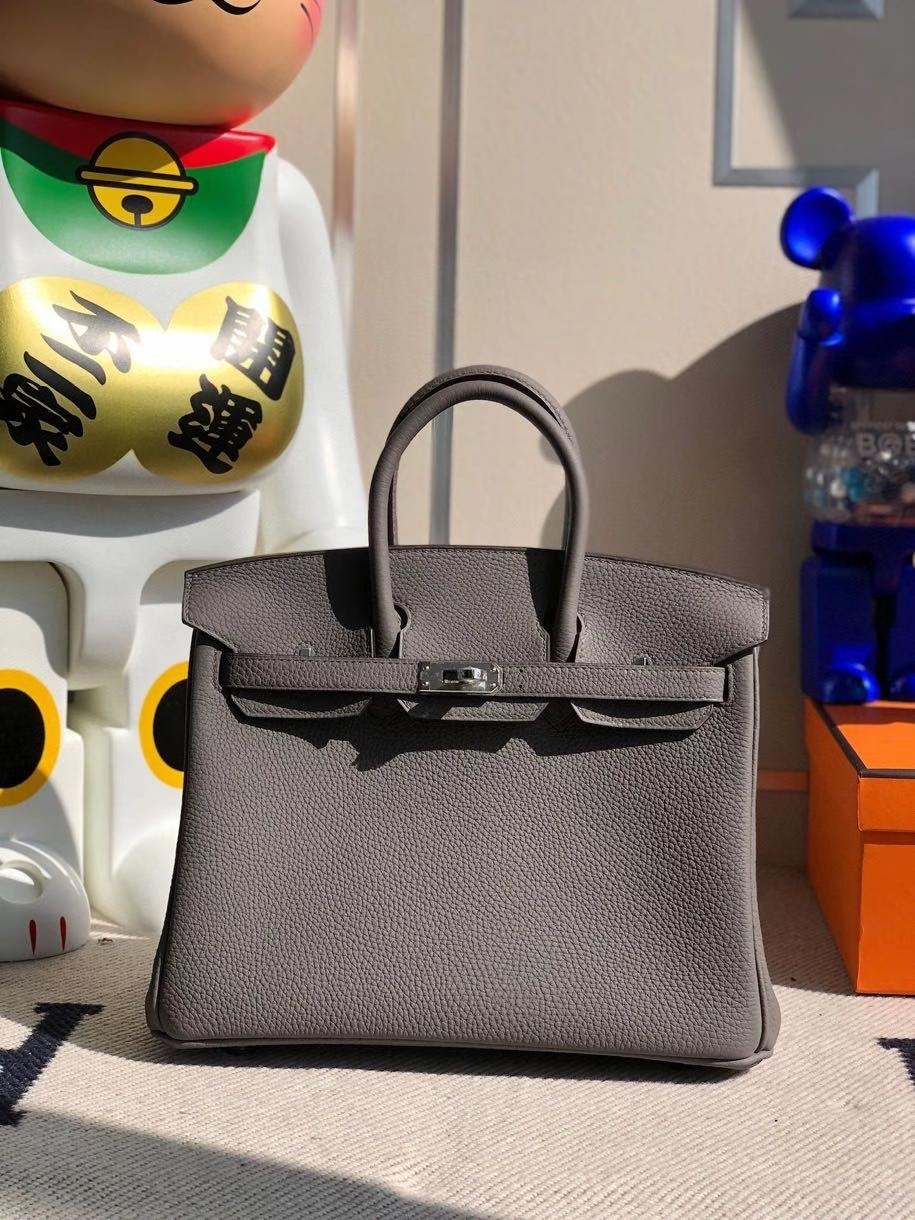 Hermès(爱马仕)Birkin 25cm 原厂小牛皮 togo 8F 锡器灰 Etain银扣 顶级手缝