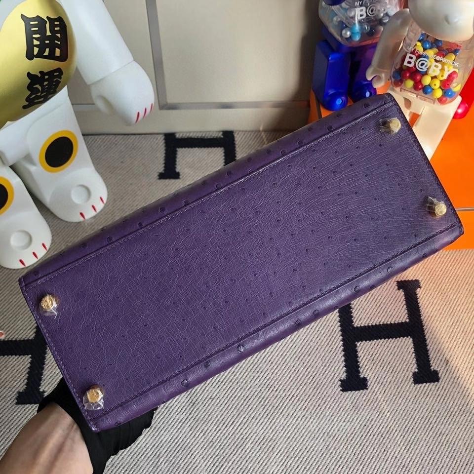 Hermès(爱马仕)Kelly 25cm Ostrich kk鸵鸟 葡萄紫 金扣 顶级手缝 现货