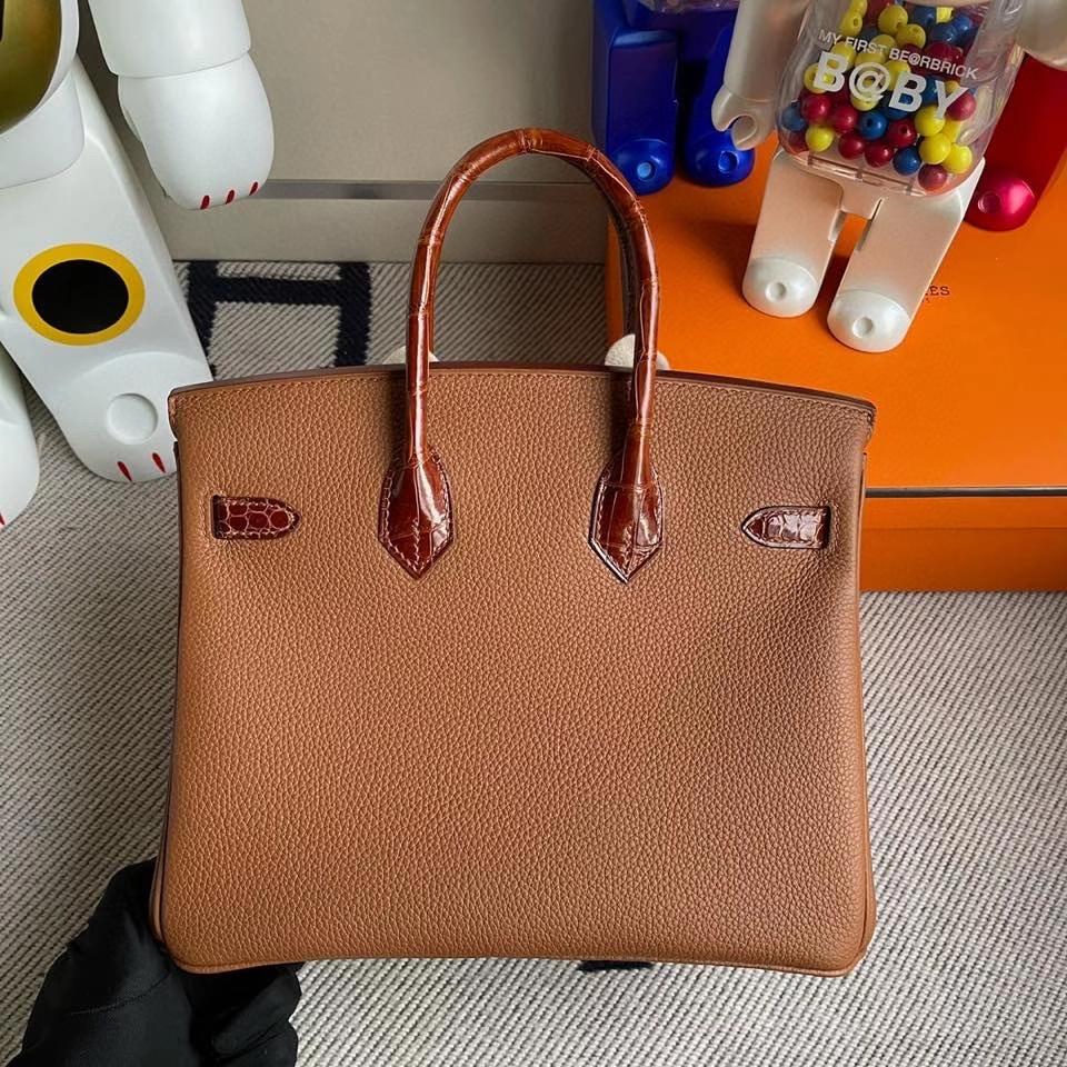 Hermès(爱马仕)Touch系列 Birkin 25cm ck37金棕色 gold 拼亮面鳄鱼蜜糖棕 银扣 顶级手缝  定制