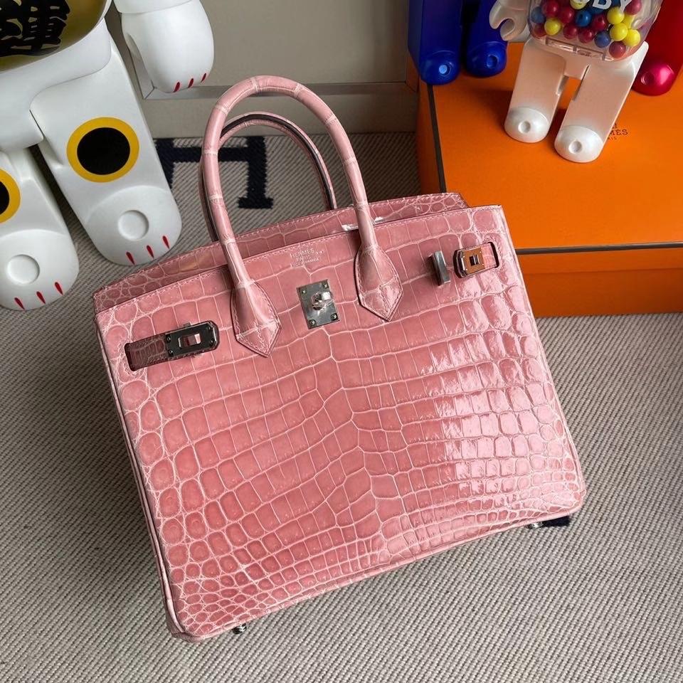 Hermès(爱马仕)Birkin 25cm Crocodile shiny 亮面鳄鱼 1Q奶昔粉 rose confetti 银扣 顶级手缝