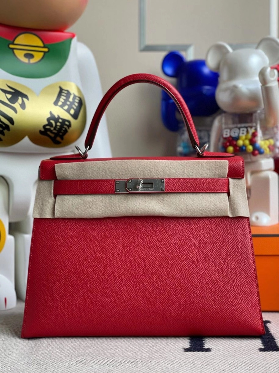 Hermès(爱马仕)Kelly 28cm Epsom 原厂掌纹皮 Q5 国旗红 银扣 顶级手缝