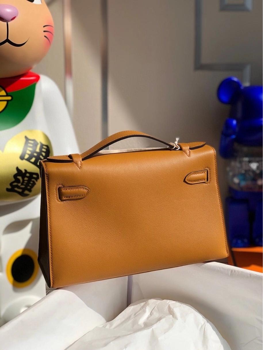 Hermès(爱马仕)Mini kelly swift  2S 芝麻黄 Sesame 金扣 顶级手缝 手拿包 晚宴包