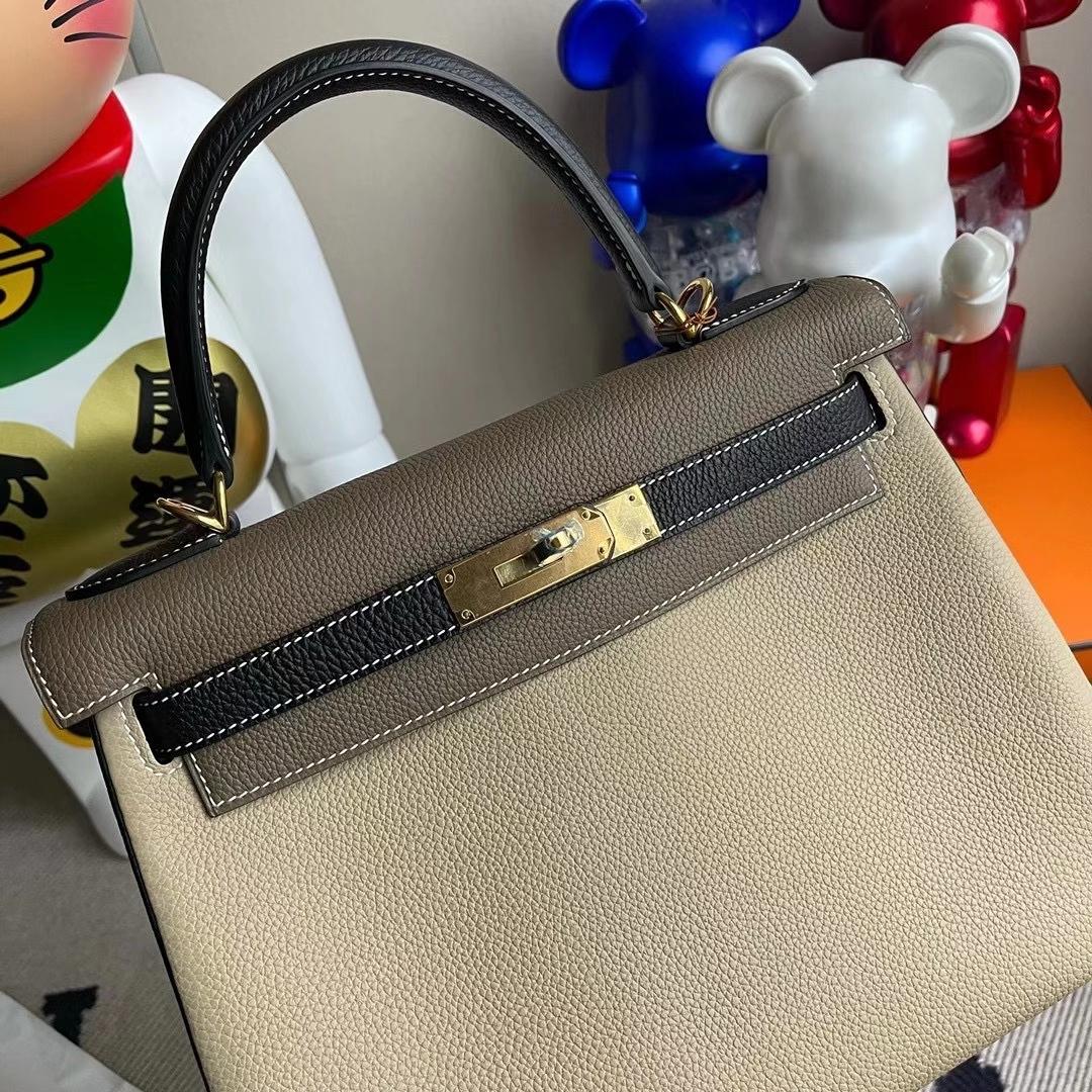 Hermès(爱马仕)Kelly 28cm Hss 三拼色 Togo Ck81斑鸠灰Ck89黑色Ck18大象灰 全手工缝制 金扣
