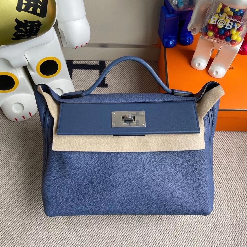 Hermès(爱马仕)2424 29cm  明蓝色 银扣 顶级手缝 定制