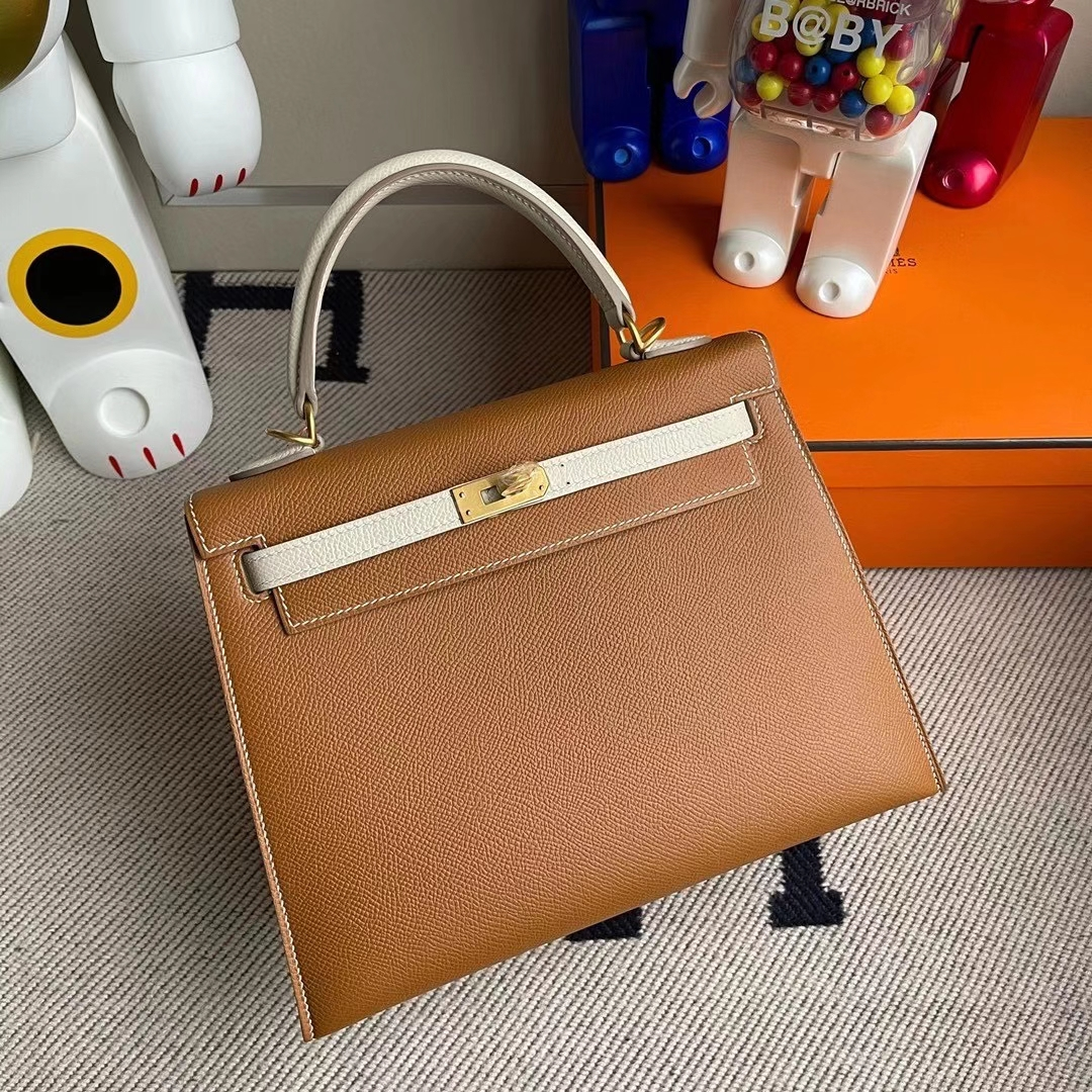 Hermès(爱马仕)Kelly 25cm Hss Epsom Ck37金棕色Ck10奶昔白 顶级工艺 全手工缝制 拉丝金扣