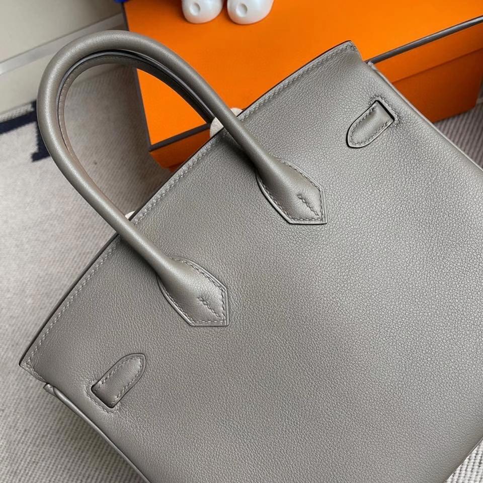 Hermès(爱马仕)Birkin 25cm Swift  ck81 大象灰 Etoupe 银扣 顶级手缝 现货