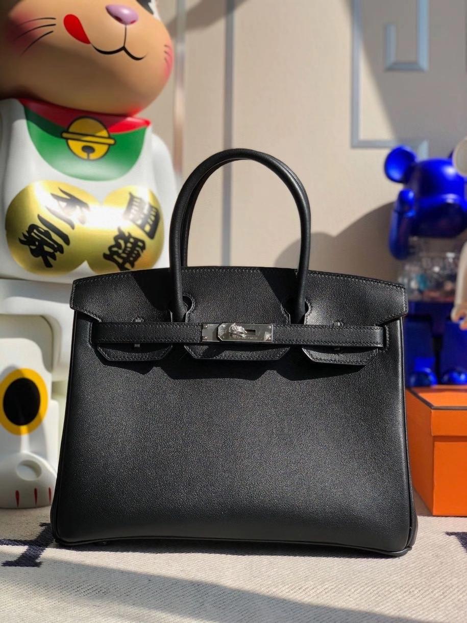 Hermès(爱马仕)Birkin 30cm Swift  ck89 黑色 内拼 丝绒绿 银扣 顶级手缝