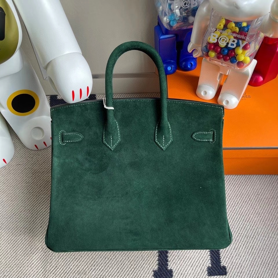 Hermès(爱马仕)Birkin 25cm 麂皮 2Q英国绿 金扣 顶级手缝 现货