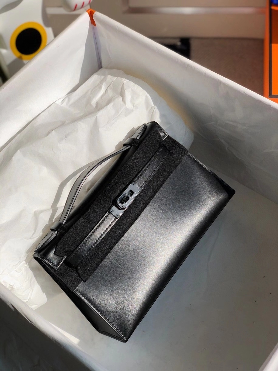 Hermès(爱马仕)Mini kelly pochette 22cm Box calf ck89 黑扣 So black  顶级手缝
