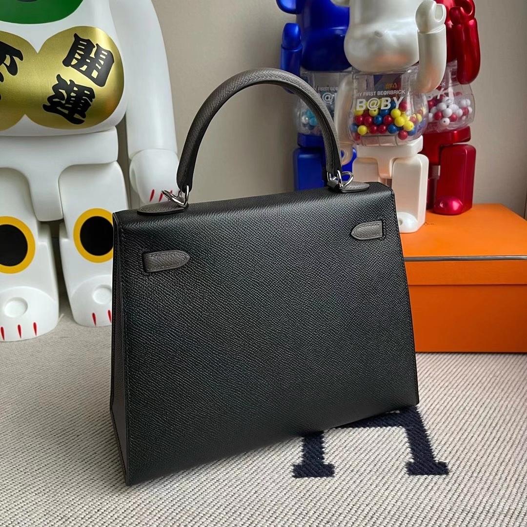 Hermès(爱马仕)Kelly 25cm Hss Epsom Ck89黑色8F锡器灰 顶级工艺 全手工缝制 银扣 现货