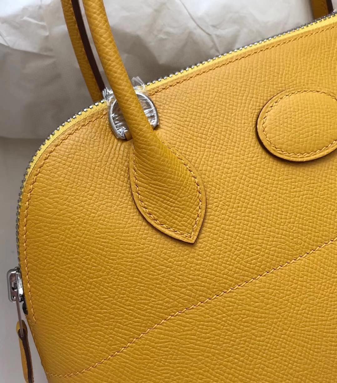 Hermès(爱马仕)Bolide 27cm Epsom 原厂掌纹皮 9D琥珀黄 Amber 银扣 顶级手缝 现货