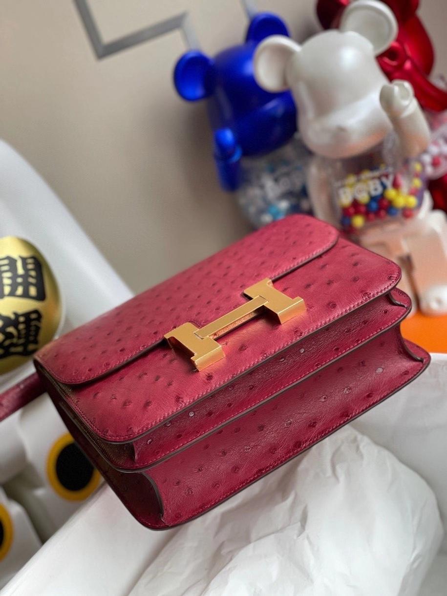 Hermès(爱马仕)Constance 24cm Ostrich kk鸵鸟 宝石红 金扣 顶级手缝 定制