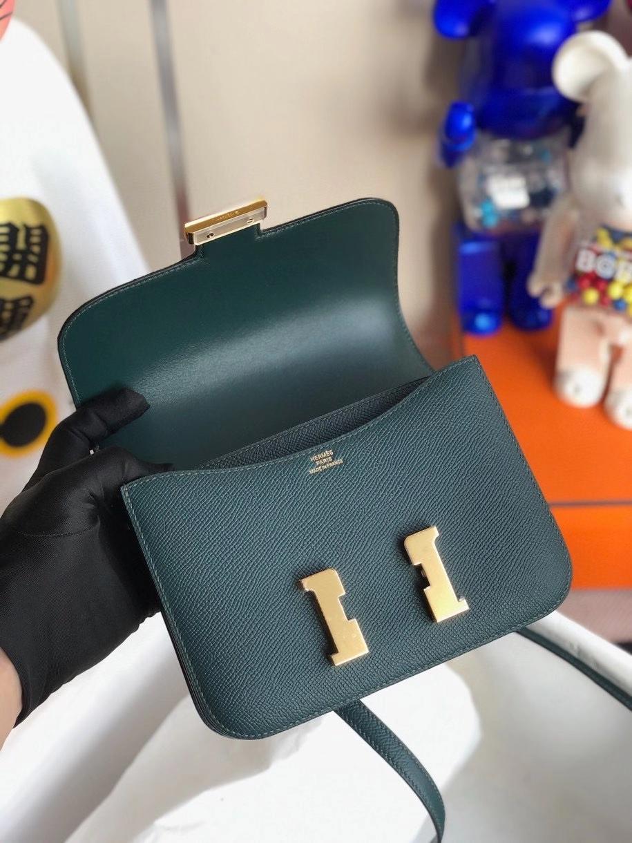 Hermès(爱马仕)Constance 18cm Epsom 原厂掌纹皮 6o 柏树绿 金扣 顶级手缝 定制