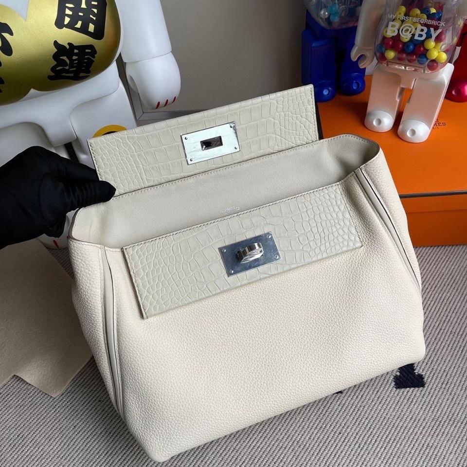 Hermès(爱马仕)2424 29cm ck10 奶昔白拼鳄鱼 银扣 顶级手缝 定制