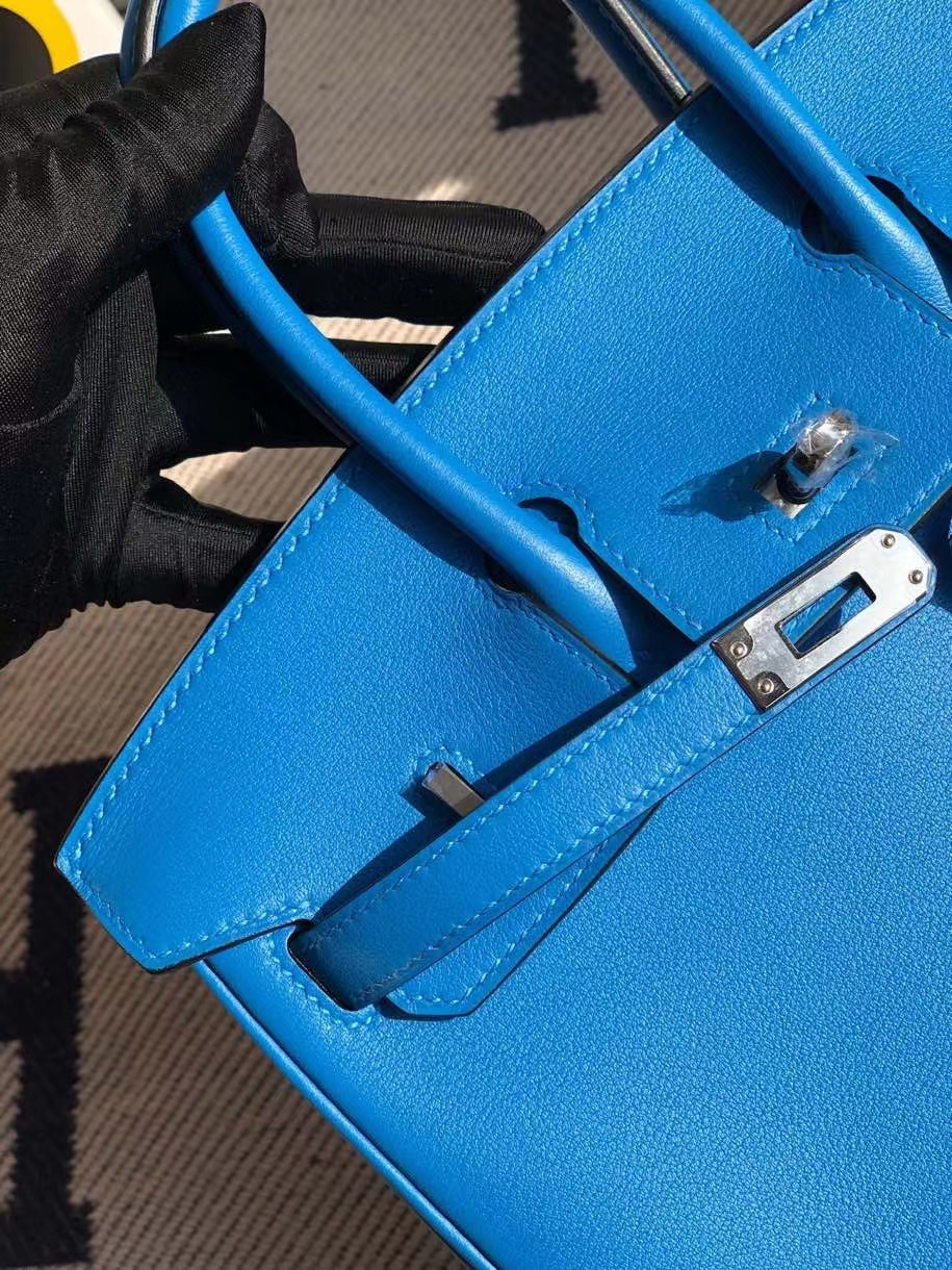 Hermès(爱马仕)Birkin 原厂swift 皮 7T 水妖蓝 银扣 顶级手缝 25cm