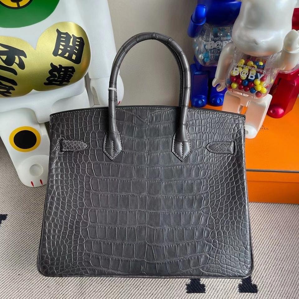 Hermès(爱马仕)Birkin 30cm alligator matt雾面鳄鱼 ck88 石墨灰 Griaphite 金扣 顶级手缝 现货