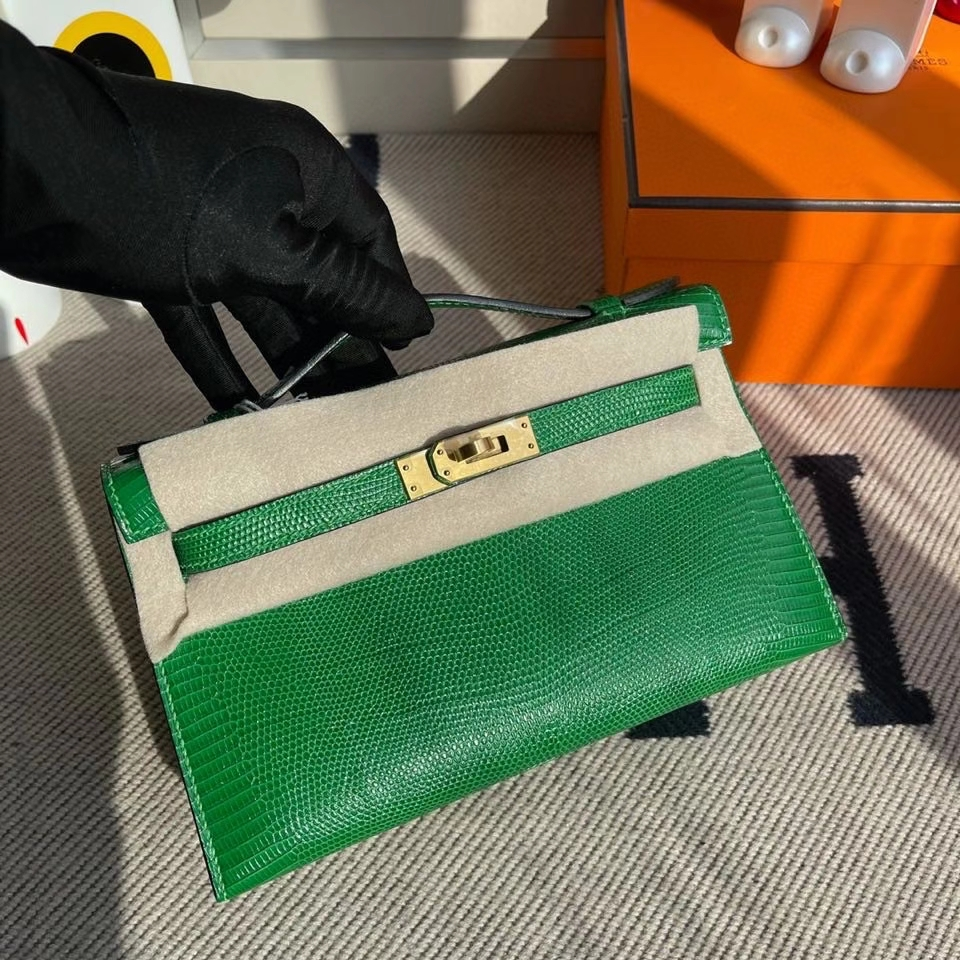 Hermès(爱马仕)Mini kelly pochette 22cm Lizard 进口亮面蜥蜴 1k 竹子绿 Bamboo 拉丝金扣 晚宴包