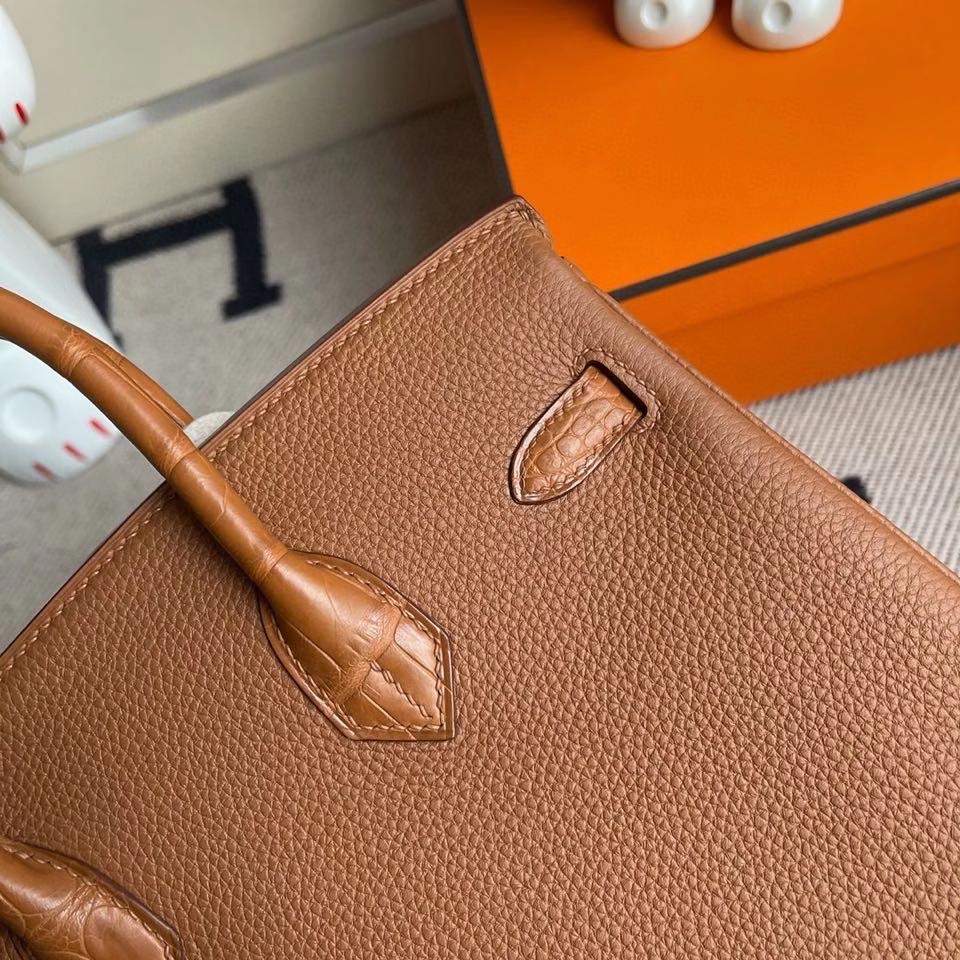 Hermès(爱马仕)Touch系列 Birkin 25cm ck37金棕色 gold 拼雾面方块鳄鱼棕色 银扣 顶级手缝  定制