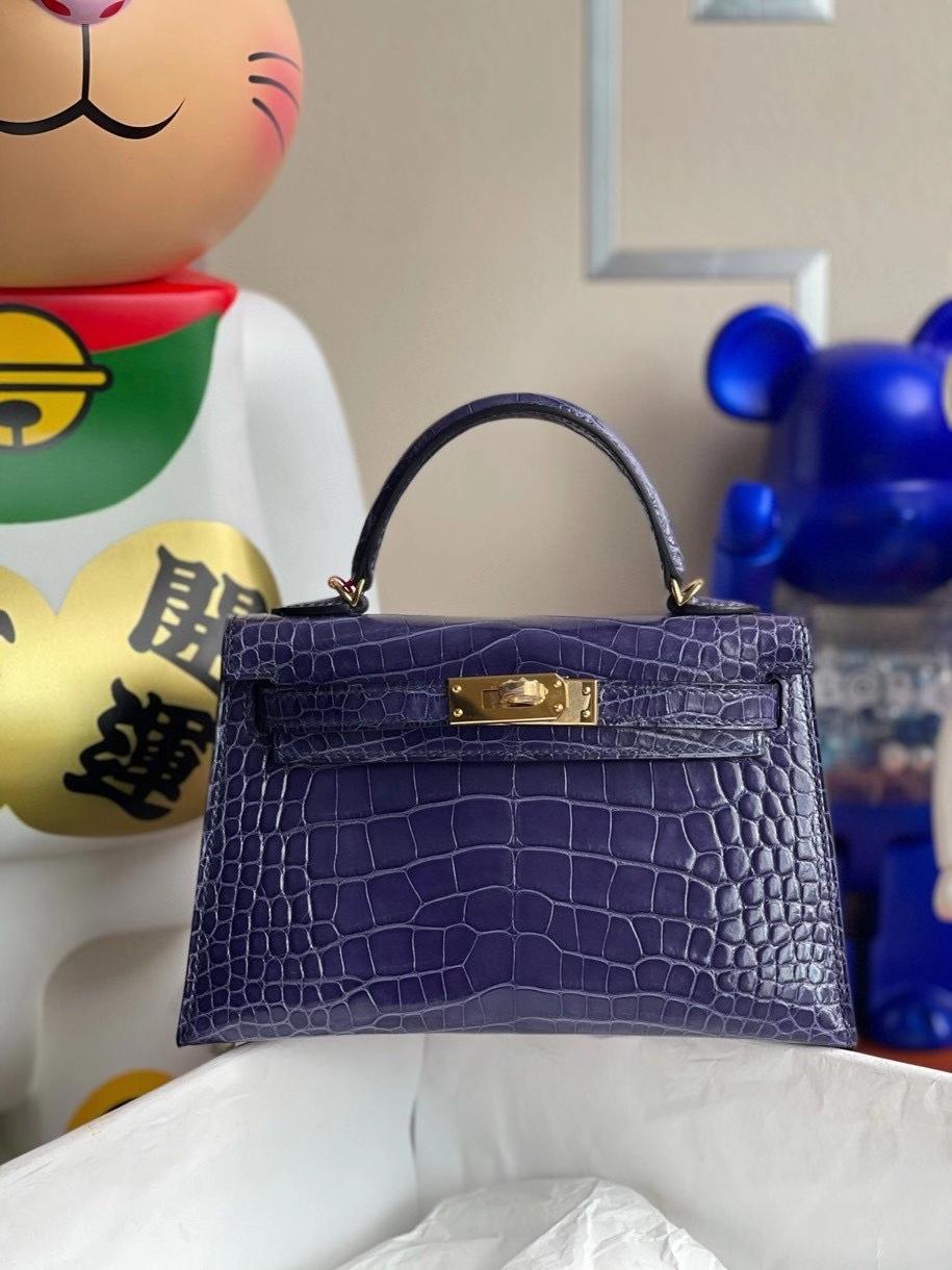 Hermès(爱马仕)Minikelly ll Alligator shiny 亮面鳄鱼 M3 墨水蓝 金扣 顶级手缝 现货