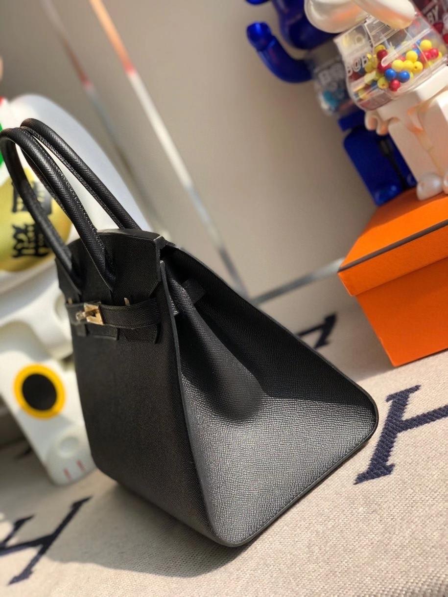 Hermès(爱马仕)Birkin 30cm Epsom 原厂掌纹皮 外缝  ck89 黑色 Noir 金扣 顶级手缝 定制