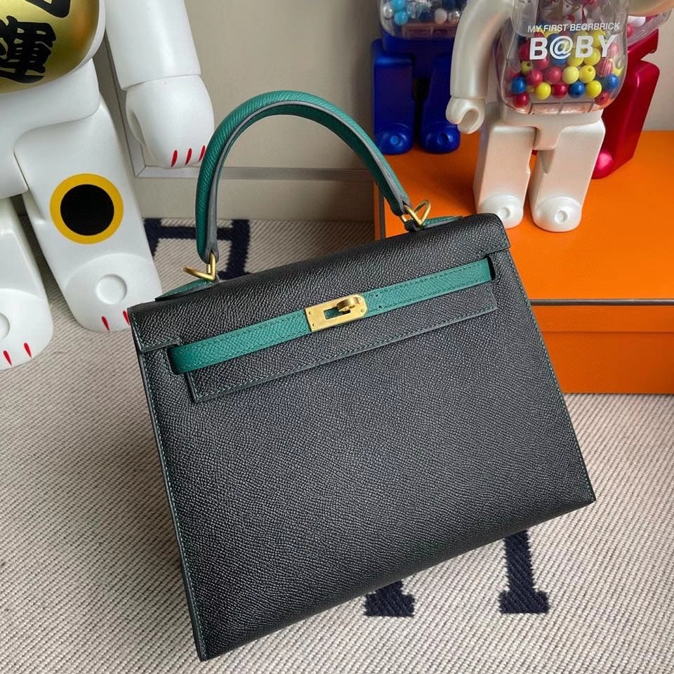 Hermès(爱马仕)kelly 25cm Epsom 原厂掌纹皮 ck89 黑色拼 z6 孔雀绿 拉丝金扣 马蹄印 现货