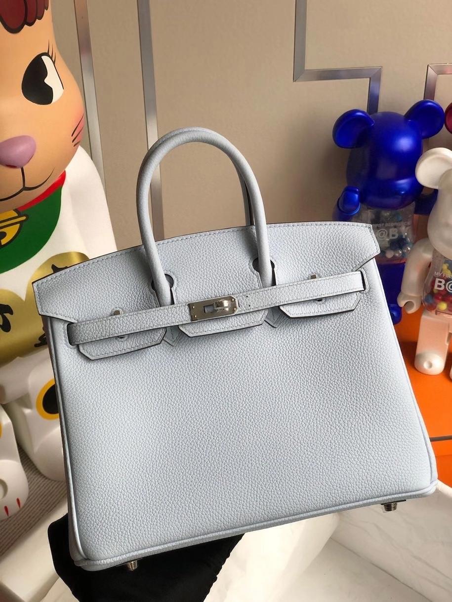 Hermès(爱马仕)Birkin 25cm 原厂小牛皮 togo T0 雾蓝色 银扣 顶级手缝 现货