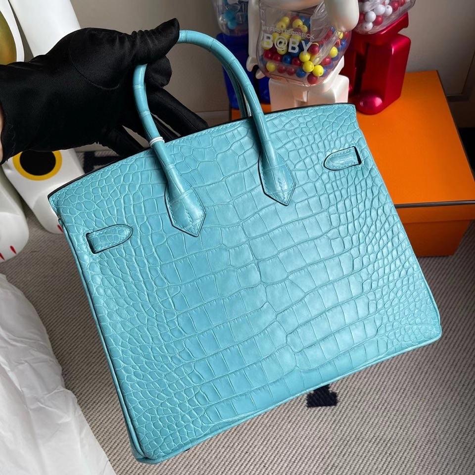 Hermès(爱马仕)Birkin 25cm Alligator matt 雾面鳄鱼 3Z 圣西尔蓝 银扣 顶级手缝
