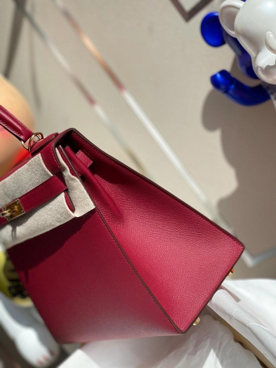 Hermès(爱马仕)Kelly 28cm Epsom 原厂掌纹皮 K1 石榴红 Rouge grenat 金扣 顶级手缝