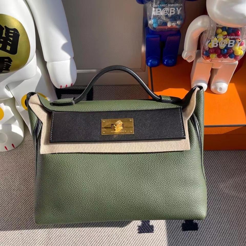 Hermès(爱马仕)2424 29cm 橄榄绿拼黑色 金扣 顶级手缝