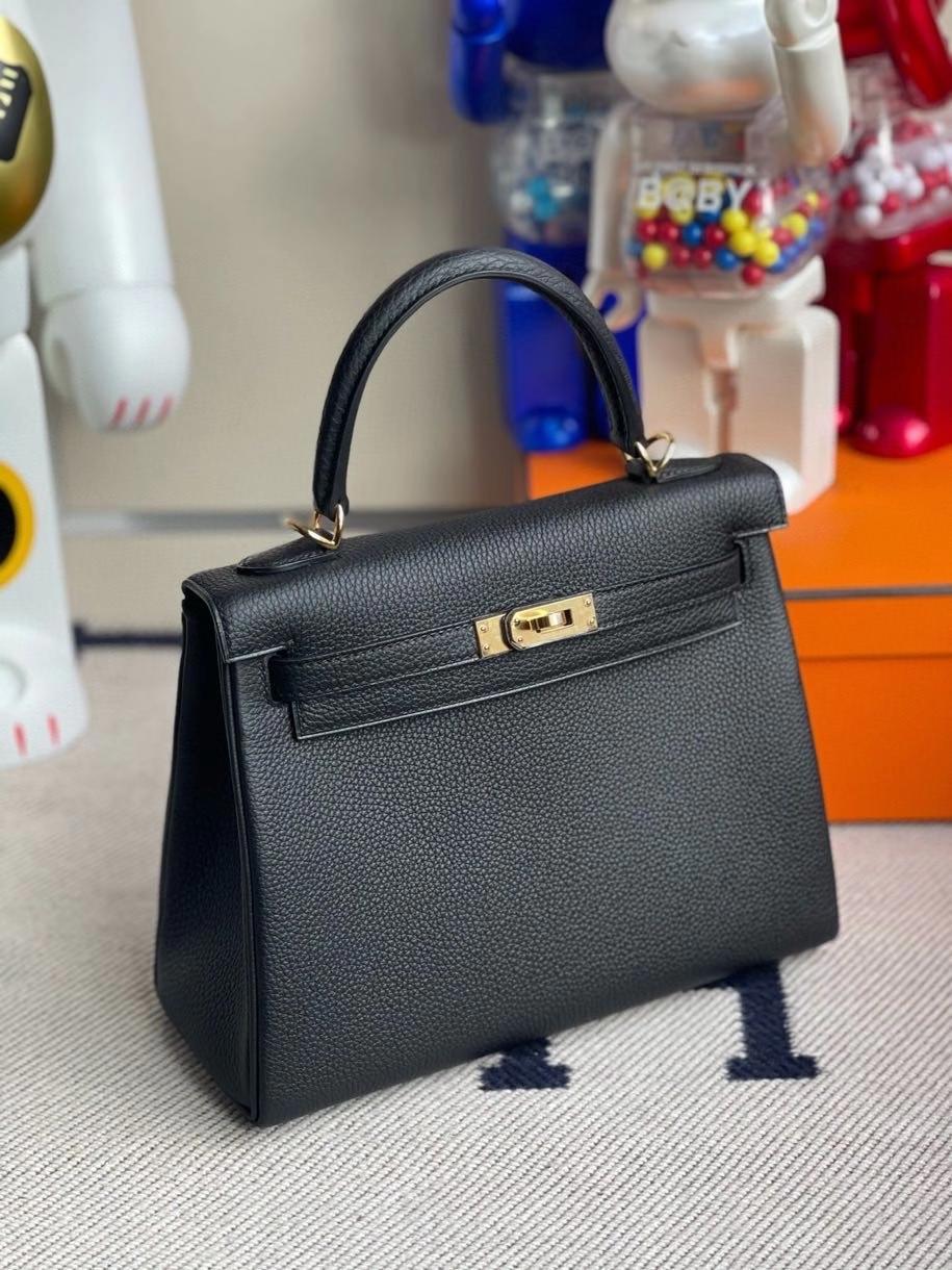 Hermès(爱马仕)Kelly 25cm 原厂小牛皮 togo ck89 黑色 Noir 金扣 顶级手缝 现货