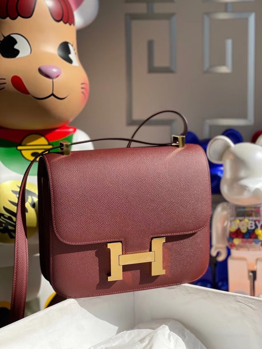 Hermès(爱马仕)Constance 24cm Epsom 原厂掌纹皮 ck55爱马仕红 金扣