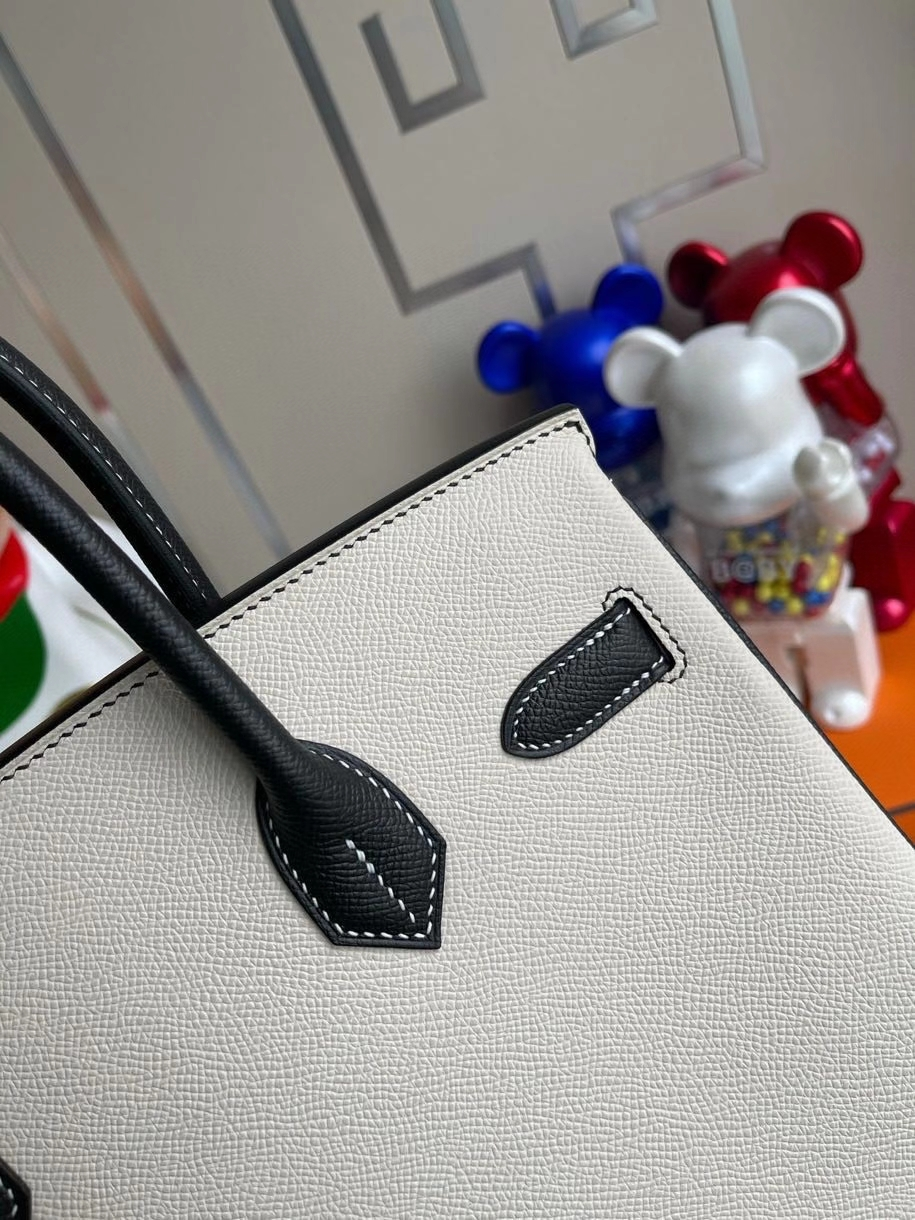 Hermès(爱马仕)Birkin 30cm Epsom 原厂掌纹皮  ck10奶昔白Craie拼 ck89 黑色 Noir 拉丝金扣 马蹄印