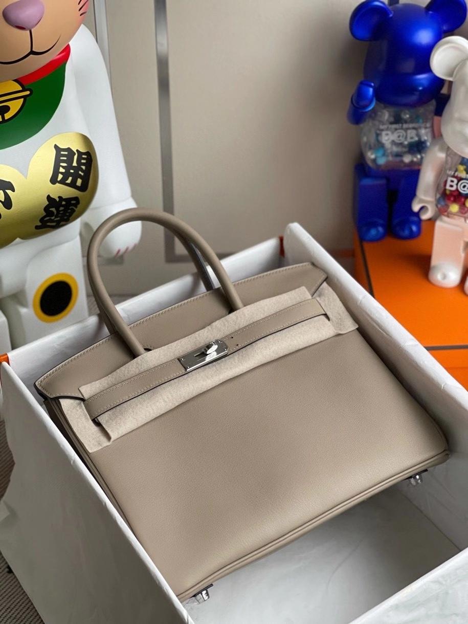 Hermès(爱马仕)Birkin 30cm Swift  M8 沥青灰 gris ashpite 银扣顶级手缝