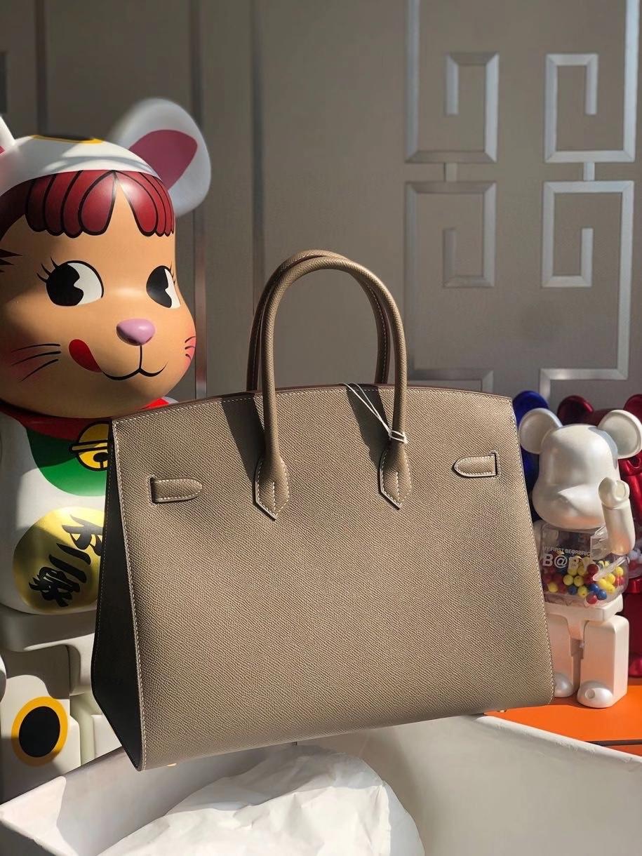 Hermès(爱马仕)Birkin 35cm Epsom 原厂掌纹皮 外缝 ck18 大象灰 Etoupe 金扣 顶级手缝 定制