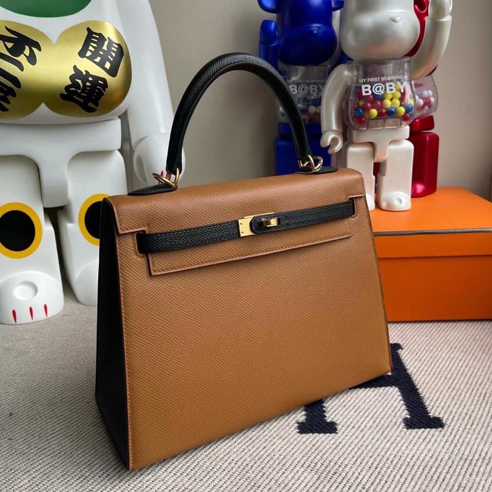 Hermès(爱马仕)kelly 25cm Epsom 原厂掌纹皮  ck37 金棕色Gold 拼ck89 黑色 拉丝金扣 马蹄印 现货