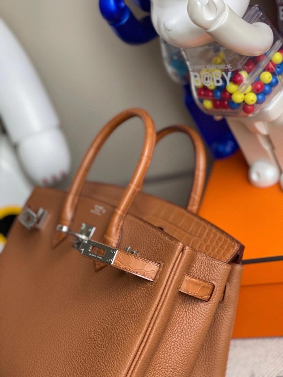 Hermès(爱马仕)Touch系列 Birkin 25cm  金棕色 雾面鳄鱼 银扣