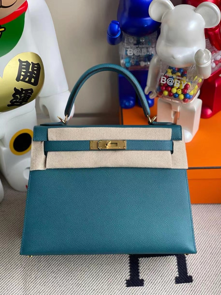 Hermès(爱马仕)Kelly 28cm Epsom 原厂掌纹皮 W0 博斯普鲁斯绿 金扣 顶级手缝