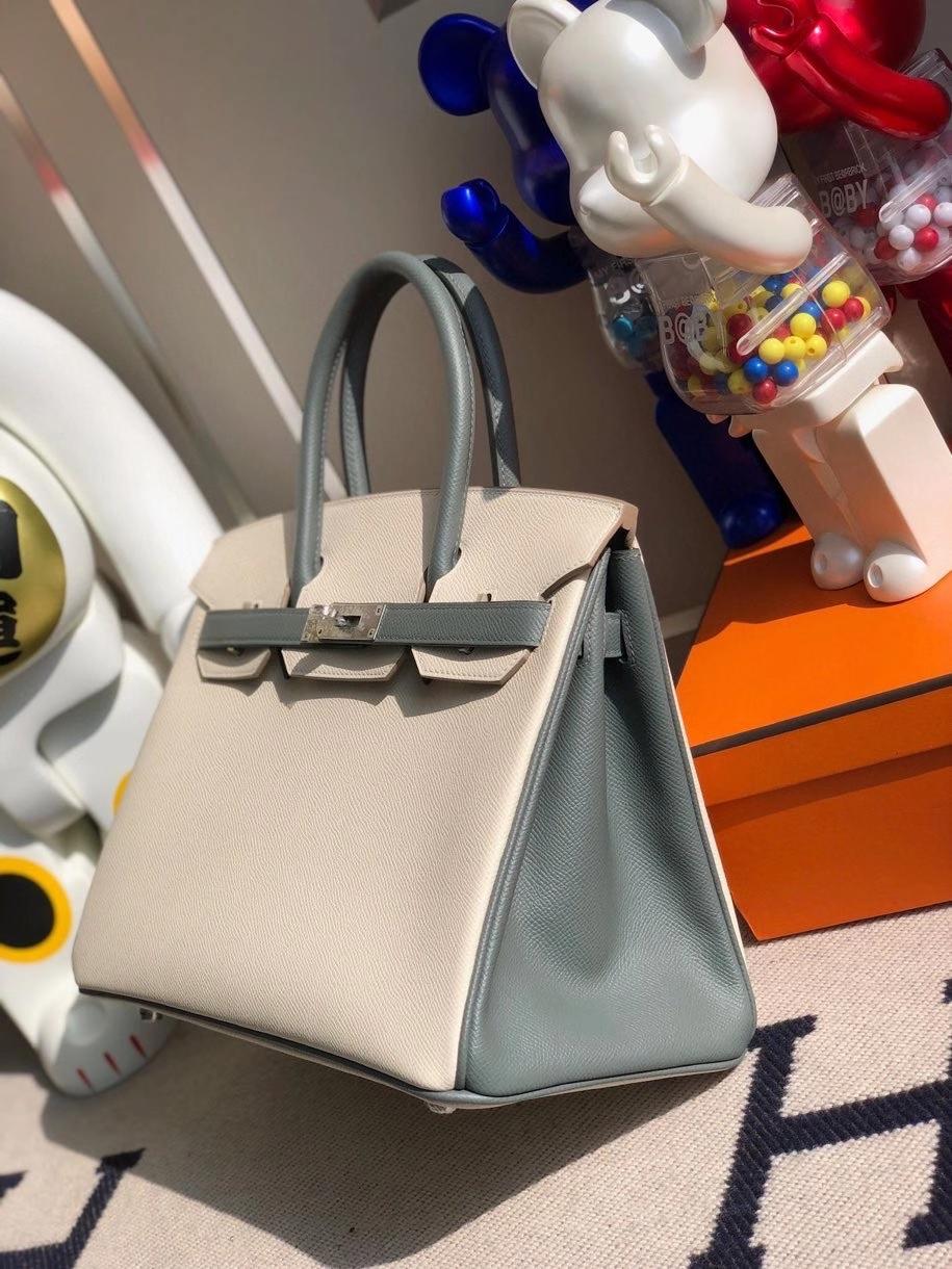 Hermès(爱马仕)Birkin 30cm Epsom 原厂掌纹皮 ck10 奶昔白Craie 拼 cc63 杏绿色 拉丝银扣 马蹄印 顶级手缝