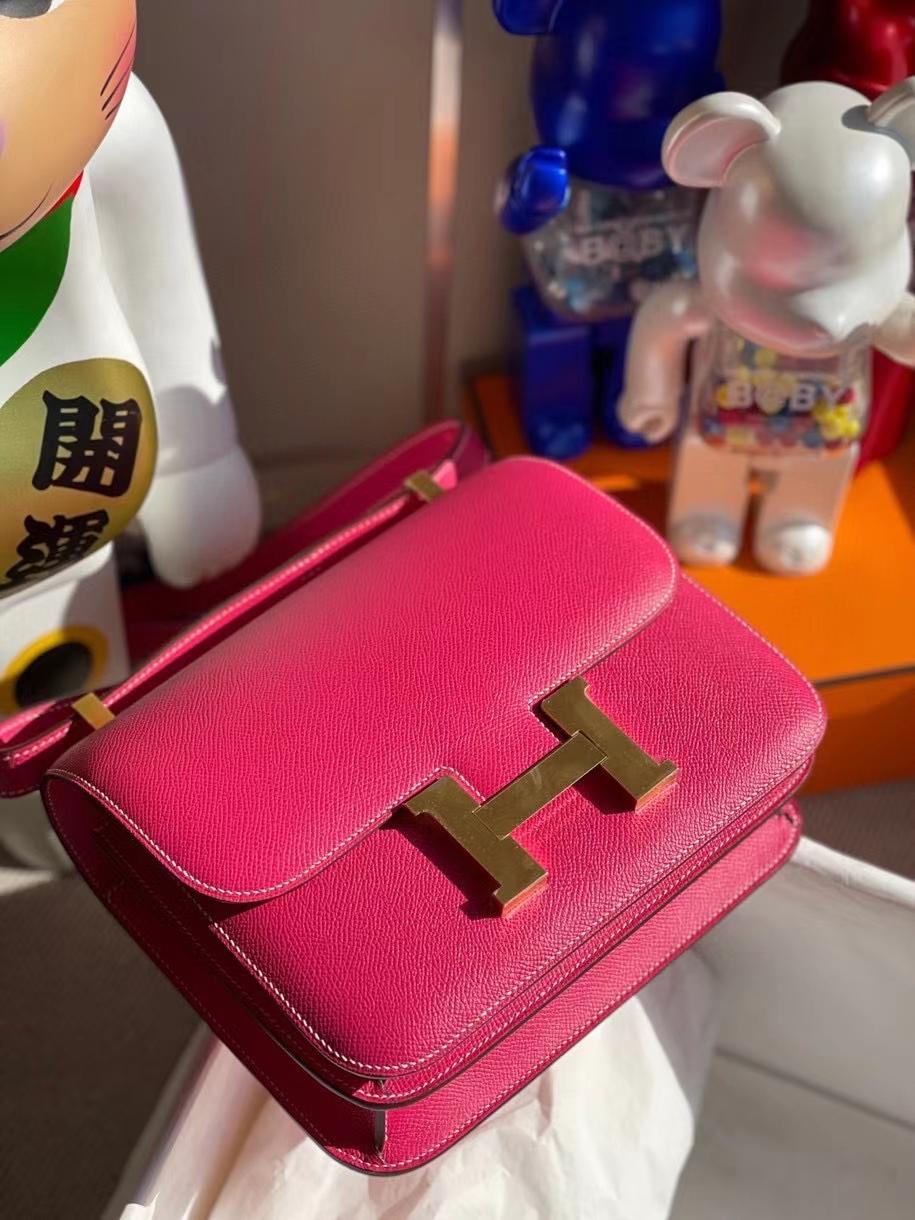 Hermès(爱马仕)Constance 24cm Epsom 原厂掌纹皮 E5 糖果粉 金扣