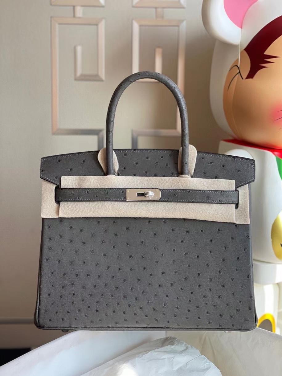 Hermès(爱马仕)Birkin 30cm Ostrich kk鸵鸟 石墨灰 graphite 银扣 定制
