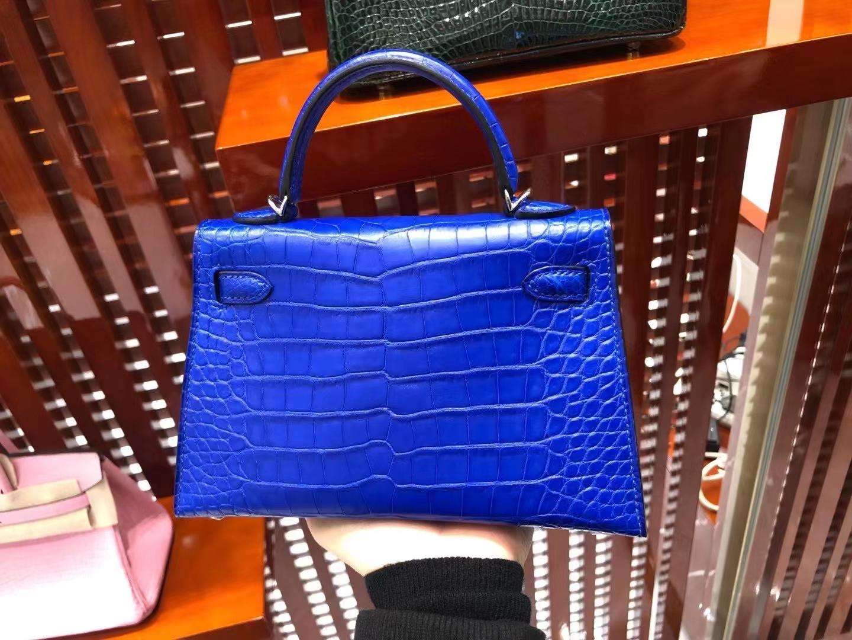 Hermès(爱马仕)Mini Kelly ll Alligator matt 雾面鳄鱼 7T 电光蓝 Eletric blue 银扣 顶级手缝 现货