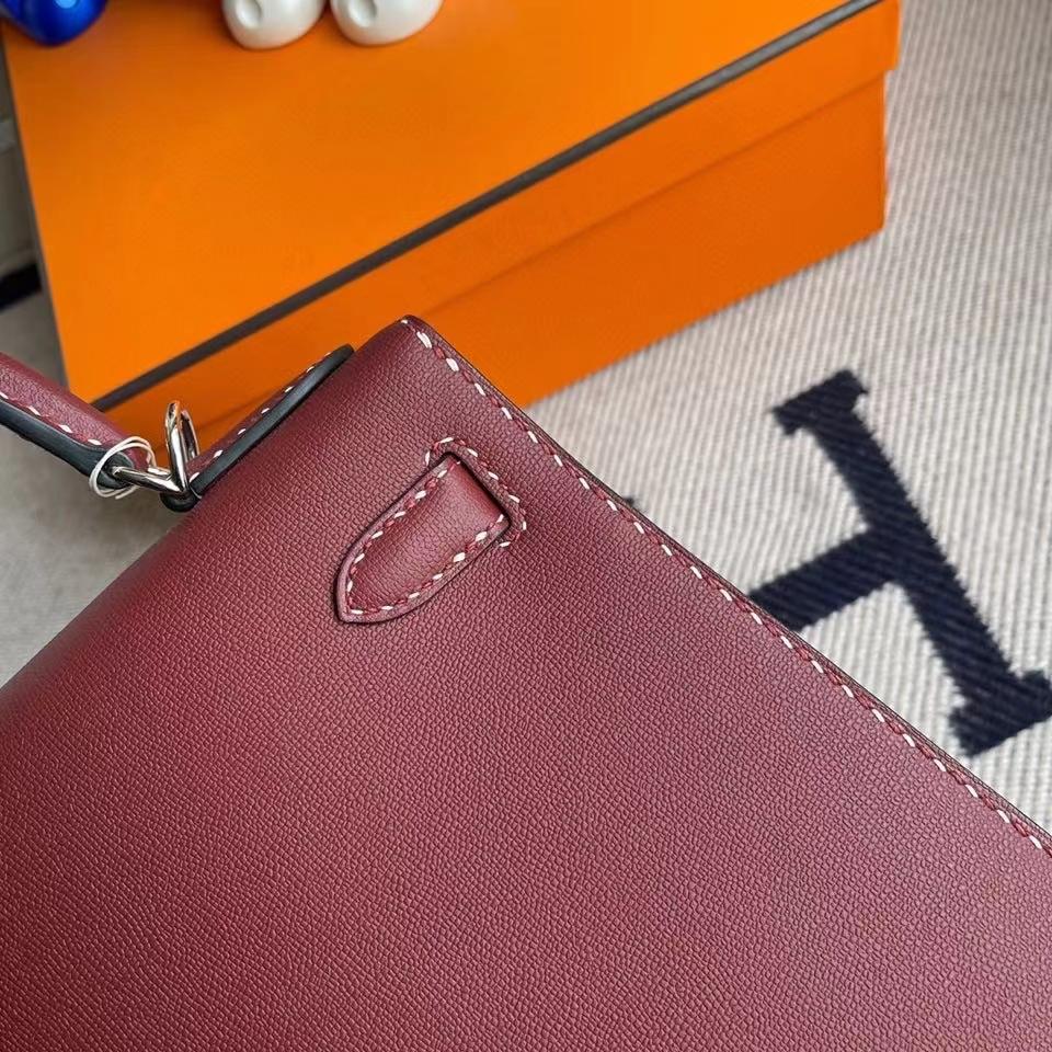 Hermès(爱马仕)Kelly 28cm GM皮 ck55 爱马仕红 银扣 顶级手缝 现货