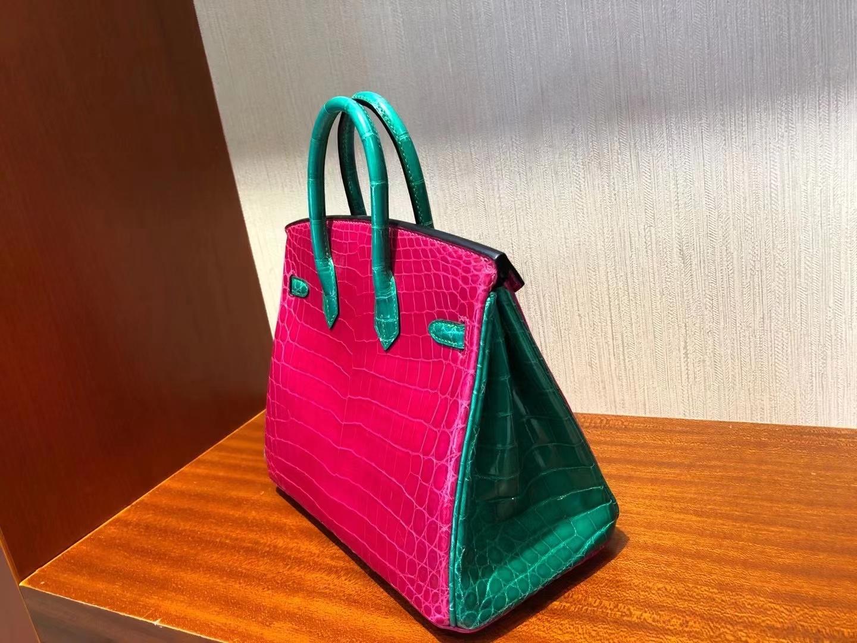 Hermès(爱马仕)Birkin 25cm 天方夜谭粉紫 拼 翡翠绿 金扣 亮面鳄鱼 顶级手缝